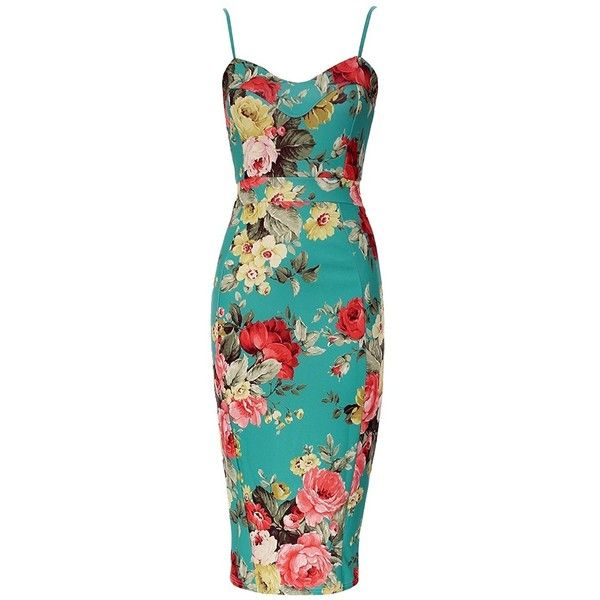 Forever Womens Celebrity Inspired Floral Strappy Bodycon Midi Dress ($14) ❤ liked on Polyvore featuring dresses, blue midi dress, floral bodycon dress, mid calf dresses, floral midi dress and strappy dress