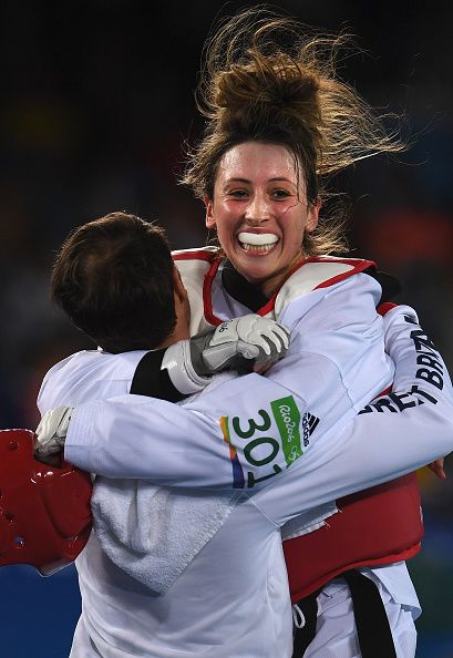 Jade Jones of Great Britain celebrates her victory over Nikita Glasnovic of…