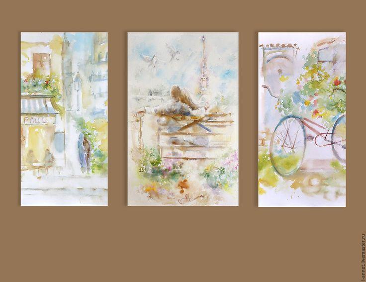Купить Триптих Улочки - авторская печать на холсте - картина на холсте, картина в светлых тонах
