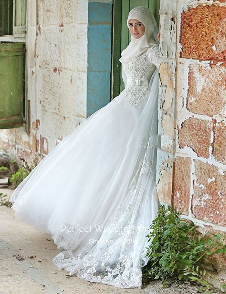 2016 New Muslim Wedding Dress Noble White Ivory Applique Long Sleeve Hijab Bridal Islamic Arab Hot Sale
