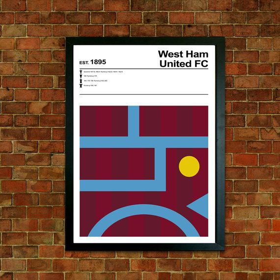 West Ham United FC Poster Print This is a stylish modernist West Ham United FC poster print, fit to grace any man cave or childrens bedroom. With minimalist artwork, styled with typography it features the historic cup and league successes of the team.