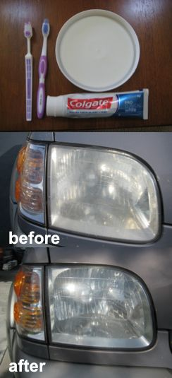 how to clean foggy headlights!---with toothpaste?!