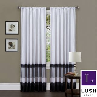 Lush Decor White/ Black 84-inch Iman Curtain Panel | Overstock.com Shopping - Great Deals on Lush Decor Curtains