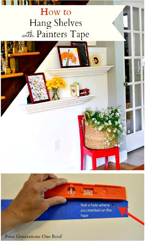 I'm not very good at measuring so this is my little tip to hang shelves without measurements! How to hang shelves using painters tape {tutorial} @Four Generations One Roof #DIY #shelves