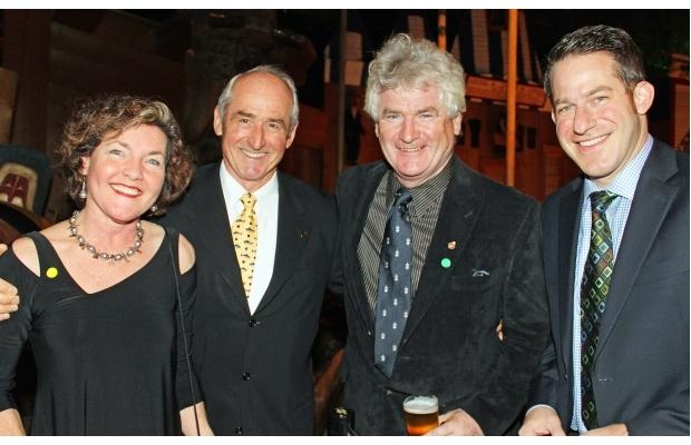 From left, Fiona Gilfillan, Dawson Hovey, singer John McDermott and celebrity auctioneer Stuntman Stu at the 16th Annual Fall Run Dinner for the Atlantic Salmon Federation, held Wednesday, October 17, 2012, at the Canadian Museum of Civilization.
