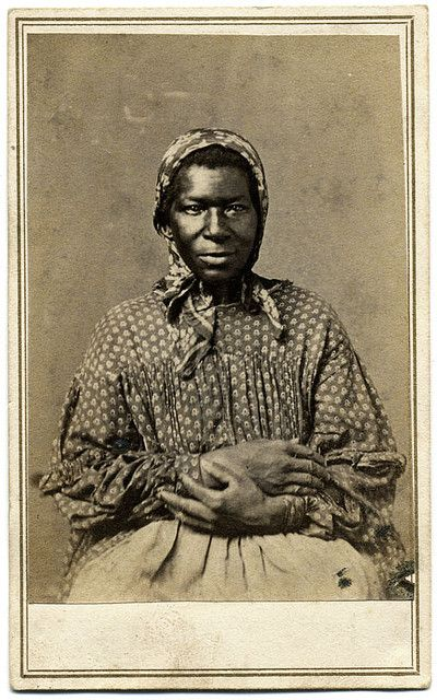+~+~ Antique Photograph ~+~+  Carte de visite by Morse of Huntsville, Ala., and Nashville, Tenn. A slave or freedwoman sitting with her hands folded.  This is a wonderful photograph.
