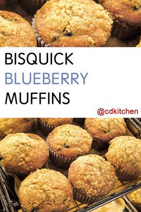 Bisquick makes these delicious blueberry muffins a breeze to prepare. You can easily substitute other fruit in place of the blueberries as well. Hint: sprinkle the tops of the muffins with brown sugar before baking! | CDKitchen.com