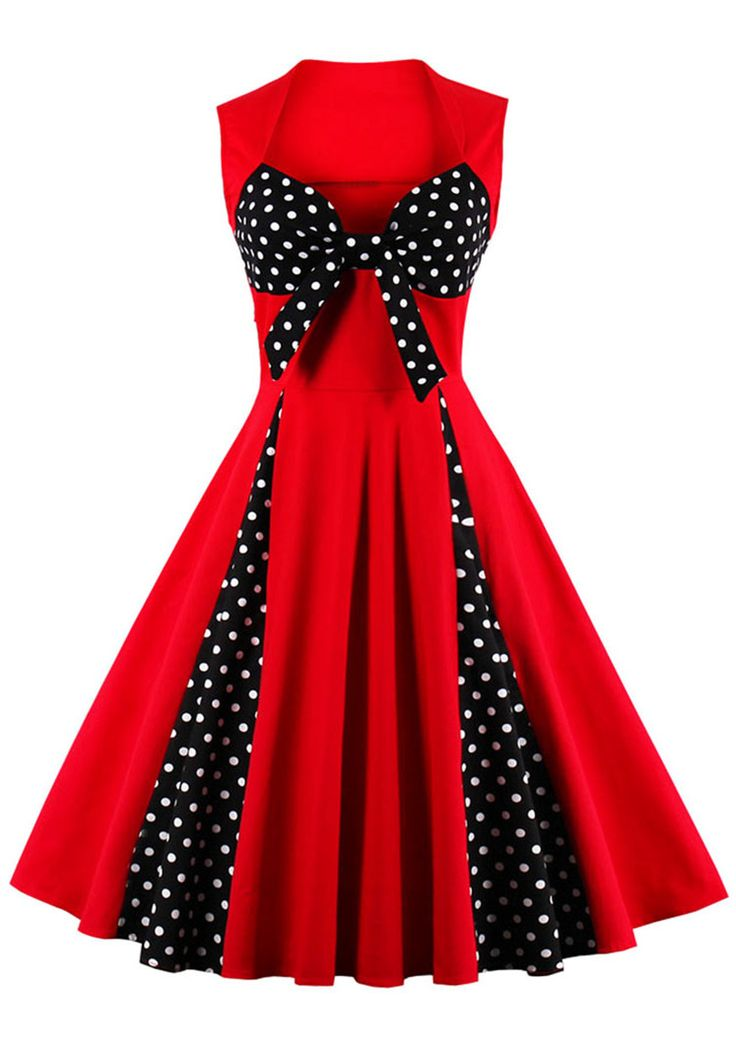 $20.58 Vintage Polka Dot Bowknot Flare Dress - Red