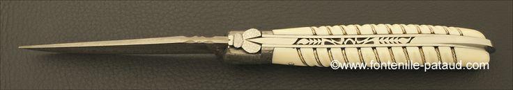 Couteau Laguiole Nature Damas Tresse en Argent - Laguiole Nature Knife Damascus Range Silver Thread