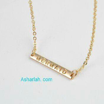 Mermaid gold bar necklace $9 Asharlah.com #gold #necklace #mermaid #jewellery