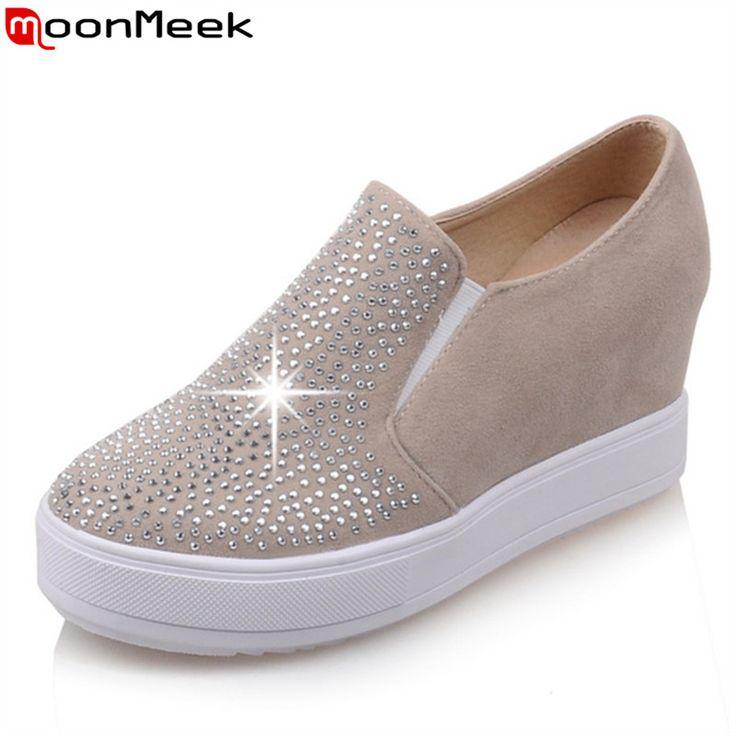 Womens Nubuck PU Leather Shoes Rhinestone Casual Platform Shoes