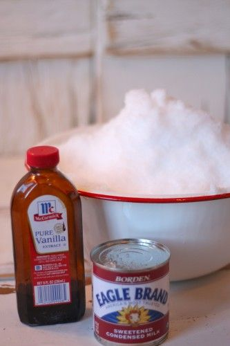 Making snow ice cream was the best part of winter!     Ingredients  8 - 10 cups freshly fallen snow  1 (14-ounce) can sweetened condensed milk  1 teaspoon vanilla extract