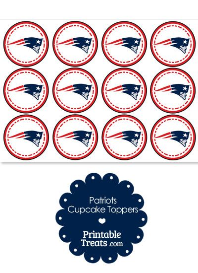 Printable Patriots Logo Cupcake Toppers from PrintableTreats.com