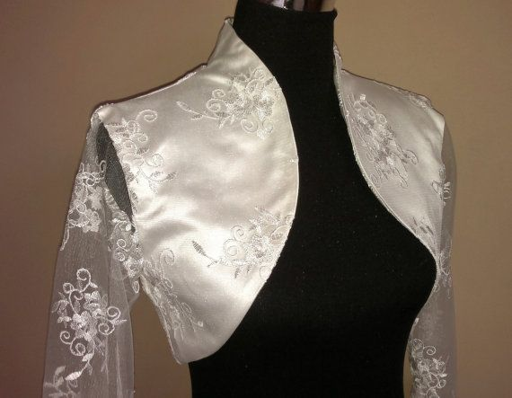 Lace & Satin Bolero Three Quarter Sleeves / Shrug / Wedding