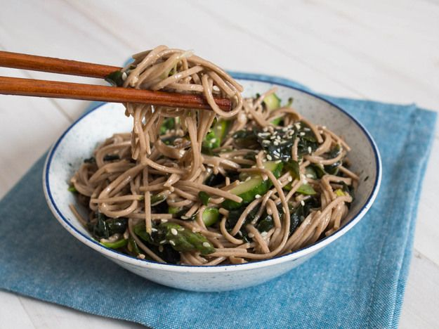 This simple and refreshing pasta salad is made with soba (buckwheat) noodles, raw cucumber, lightly cooked asparagus, and wakame seaweed. It's tossed in a lemon-soy vinaigrette with sesame oil, sesame seeds, and a hit of fresh ginger.
