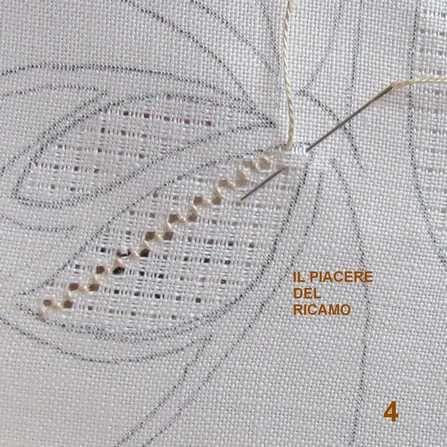 POST 553   SALVE RAGAZZE ,   Proseguiamo con la nostra avventura   preparazione ed esecuzione del punto rodi sfilato          Piccola ...
