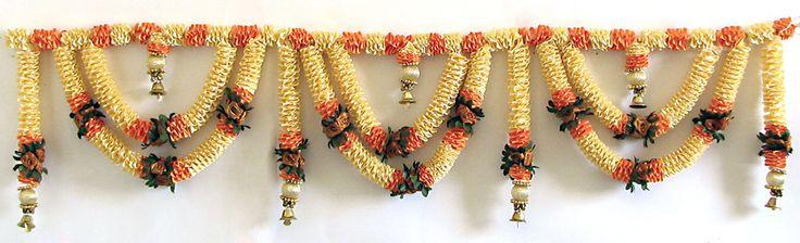 Satin Flower Door Toran with Brass Bells (Decorative Door Hanging)
