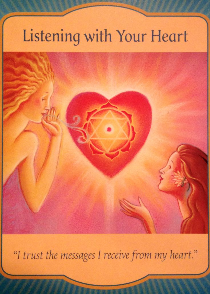 "Daily Angel Oracle Card: Listening To Your Heart, from the Gateway Oracle Card deck, by Denise Linn Listening To Your Heart: ""I trust the messages I receive from my heart."" Card Meaning: ""The heart..."