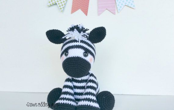 zebra crochet pattern amigurumi zebra crochet by SweetOddityArt