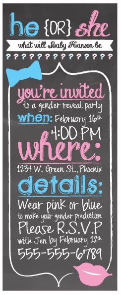 gender reveal party invite and printables