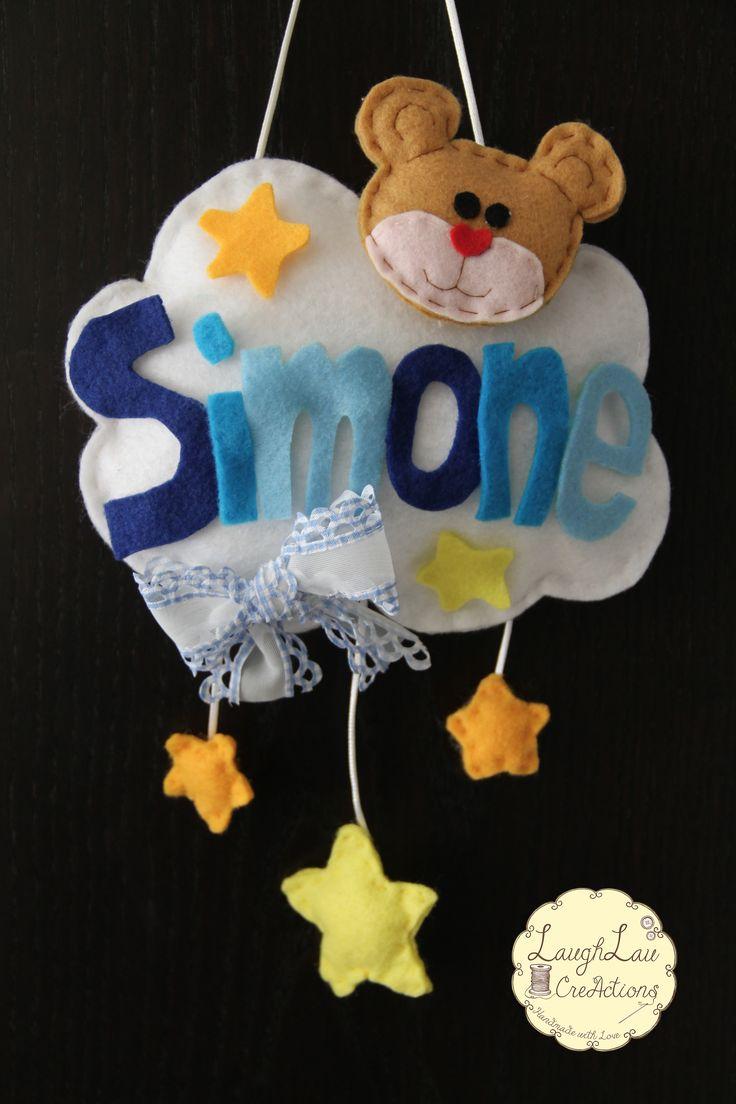 """Fiocco Nascita Bambino ❤   Modello """"Nome"""" :)  Disponibile anche per Bambina, realizzabile su commissione personalizzando nomi, colori e fantasie! Contattami per qualsiasi info :)"""