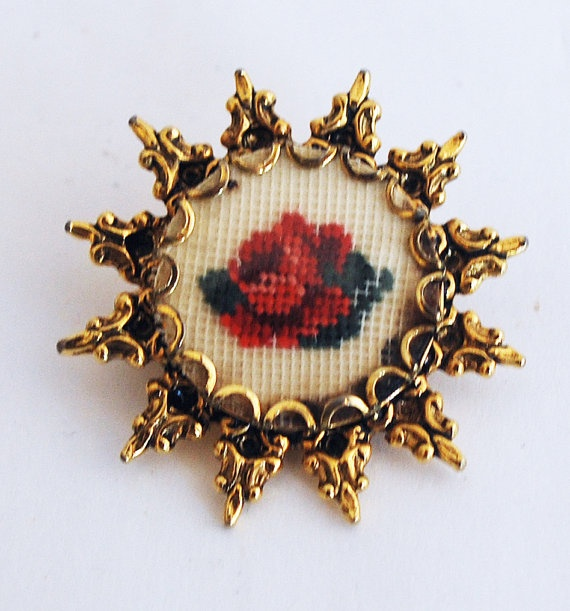 Little Floral Petit Point Brooch by BornAgainAccessories on Etsy, $15.00