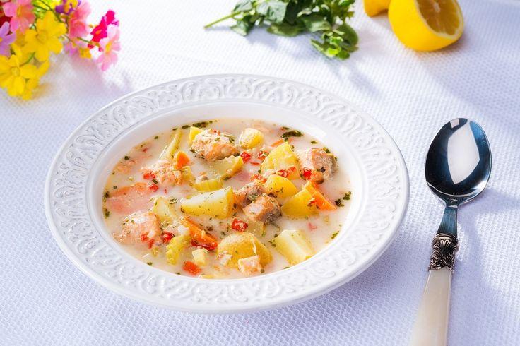 Supa cu legume si somon la Crock-Pot