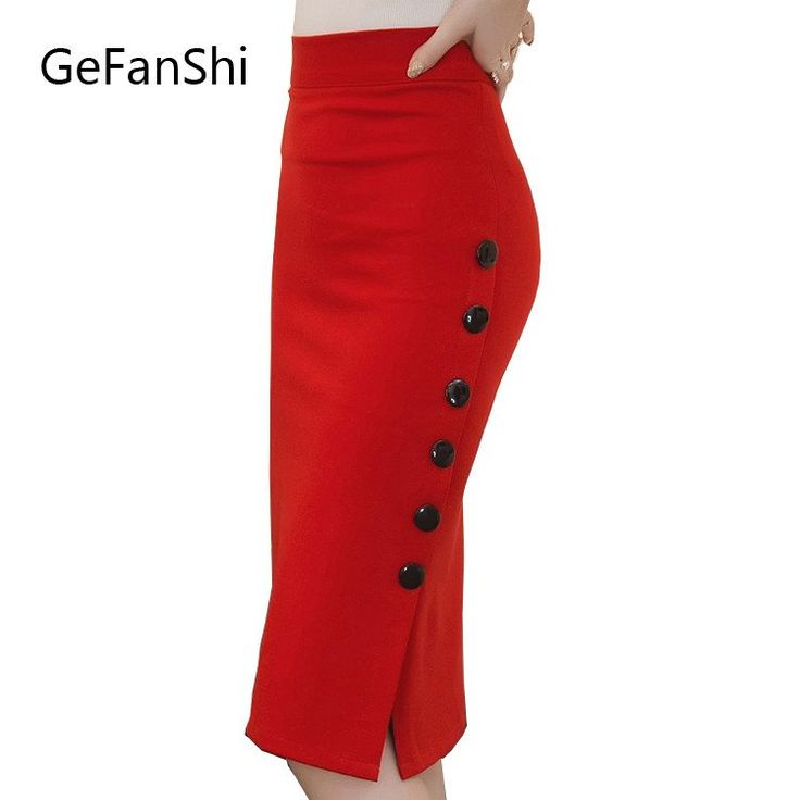 Plus Size  Women Midi Skirt Slim Sexy Open Slit  Pencil Skirt Elegant Ladies Skirts 2 Colors