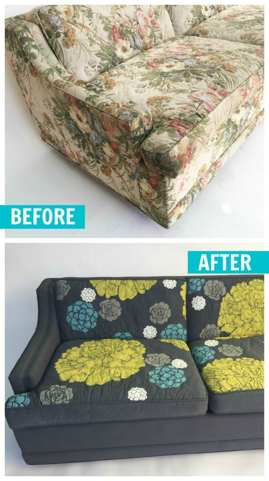 Can You Really Paint Upholstery? Learn how to makeover thrift store furniture like this couch with chalk paint!