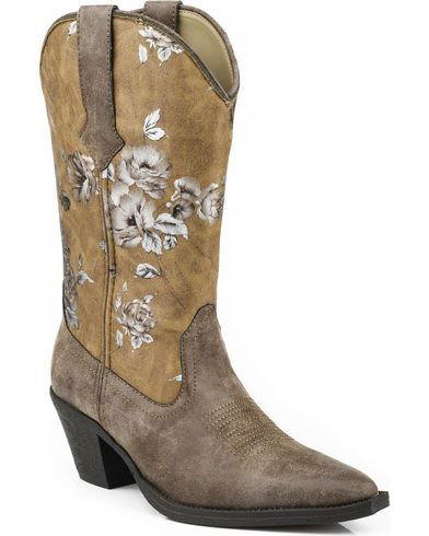 Roper Printed Vintage Floral Faux Leather Cowgirl Boots - Snip Toe - Country Outfitter