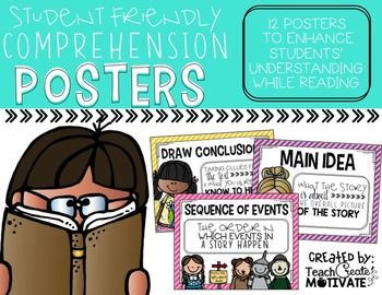 #smashingstrategiesThis is a new, bright and simple version of my comprehension poster pack! There are 12 student friendly posters included! Students will love using these adorable posters to help them remember their comprehension skills and strategies while reading!
