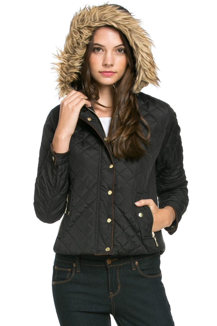 Quilted Padded Puffer Jacket with Faux Fur Hoodie Black