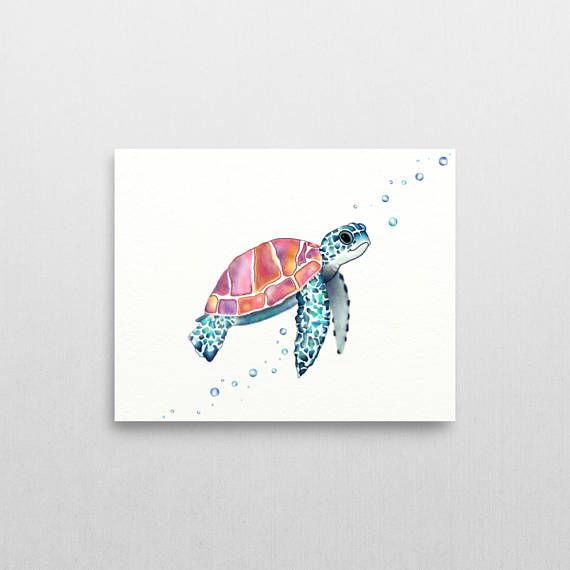 ♥ DETAILS ABOUT LISTING:  This listing is for a watercolor sea turtle canvas painting in colors of blues, turquoises, purples, pinks, Oranges, and yellows. Along with matching colorful bubbles floating near the front and underneath of the sea turtle in this turtle art print. Have you been looking for some sea life art, coastal decor, or turtle decor? for a coastal theme room? Or do you simply just love turtles? Then this sea turtle print/coastal printable would be a great sea turtle gift...
