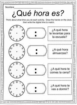 Qué hora es? Spanish Time worksheets & flashcards | Spanish ...