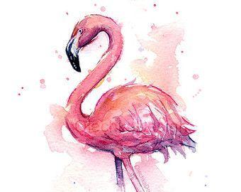 Rosa Flamingo Aquarell, Flamingo Kunstdruck, Flamingo Wandkunst, Vogel Wandkunst, Flamingo Home Decor, tropische rosa Flamingo, Giclee