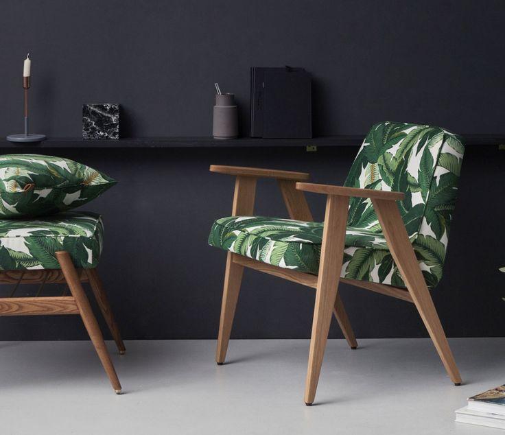 Fauteuil 366 avec tissu imprimé Jungle, entre design vintage et imprimé tendance
