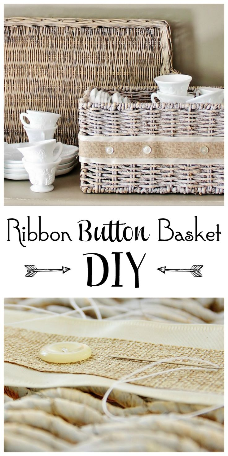 Create a ribbon button basket project. Sew buttons and ribbons on to a basket to create this ribbon button basket project. Easy no-sew option available.
