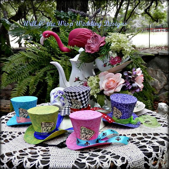Alice in Wonderland Mini Top Hats-Set of 5-Favors-photo props-Wedding-Tea Party-Birthday-Shower-Quinceanera-2 SIZES