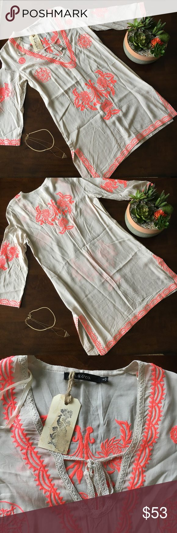 """☀️SALE NWT Coral and Beige Swim Cover Up New with tags! Boutique coral and beige swim cover up. V neck with tie in front and slit on side of hem. Approx measurements: sleeve length: 12"""", shoulder to hem: 32 1/2"""". No defects. No trades please. Ark & Co Swim Coverups"""