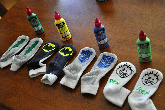 Puffy paint to make skid proof socks.  My kids like to run on the hardwood. This would keep them from slipping.  Perfect for Grandma's slippery stairs!