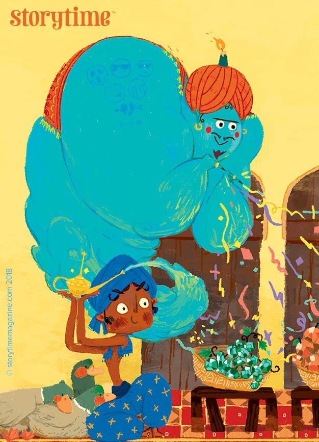 The genie of the lamp helps Aladdin win the heart of Princess Full Moon in Storytime Issue 40. Art by La Studio. ~ STORYTIMEMAGAZINE.COM