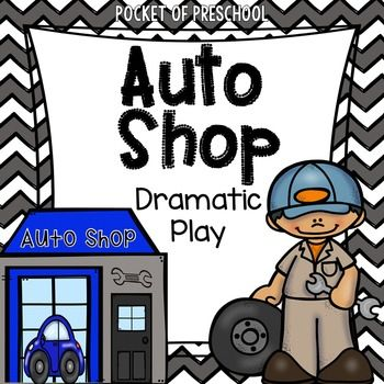 Auto Shop Dramatic Play is a fun theme for your  dramatic play center during a Transportation or Things That Go theme! Includes labels, signs, teacher planning web, role necklaces, bunting banner, mechanic report, appointment book, prop making directions, classroom photos, and MORE. Perfect for preschool, pre-k and kindergarten.