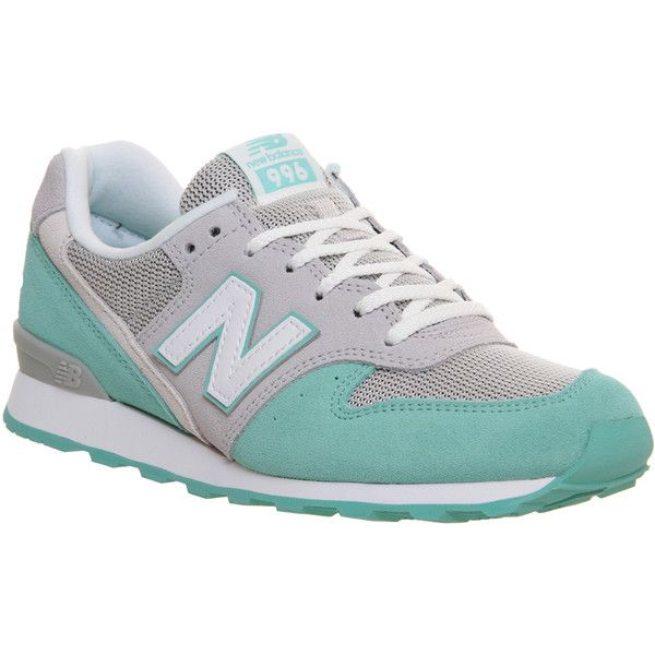 New Balance Wr996 ($100) ❤ liked on Polyvore featuring shoes, sneakers, grey mint green, hers trainers, trainers, gray shoes, mint sneakers, cushioned shoes, mint shoes et gray sneakers