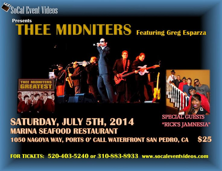 Thee Midniters in concert feat. Greg Esparza on July 5th, 2014 in San Pedro, CA Ports O'Call's, Marina Seafood Restaurant