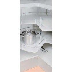 Kulmakaapinhylly 3/4 levypohjalla. Hyllyn kantavuus 18kg. Sopii 830x500x480mm kokoiseen runkoon.
