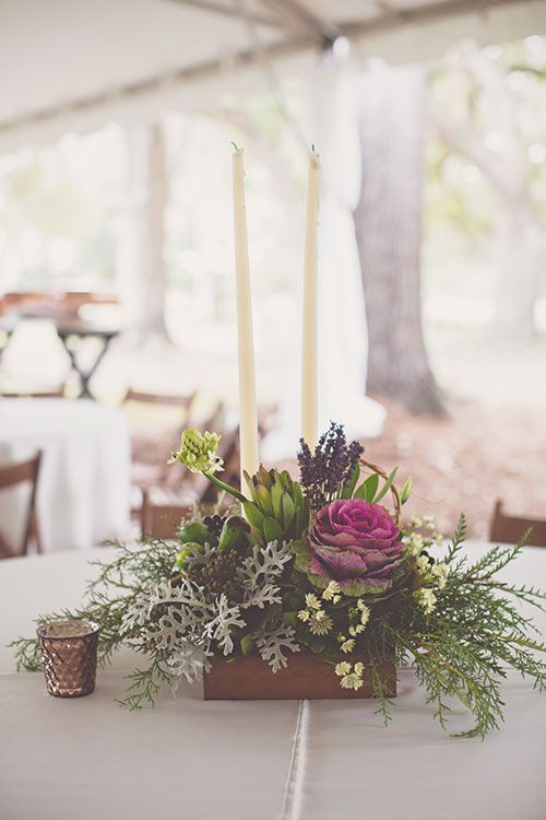 Bohemian-Chic Wedding in South Carolina, Low Wooden Centerpiece with Flowers and Greenery | Brides.com
