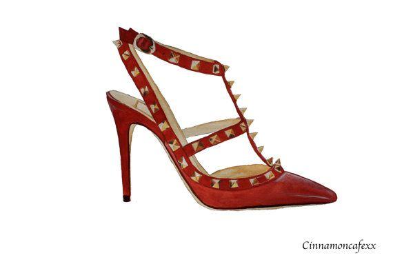 Red Valentino Rockstud pumps shoe fashion illustration print