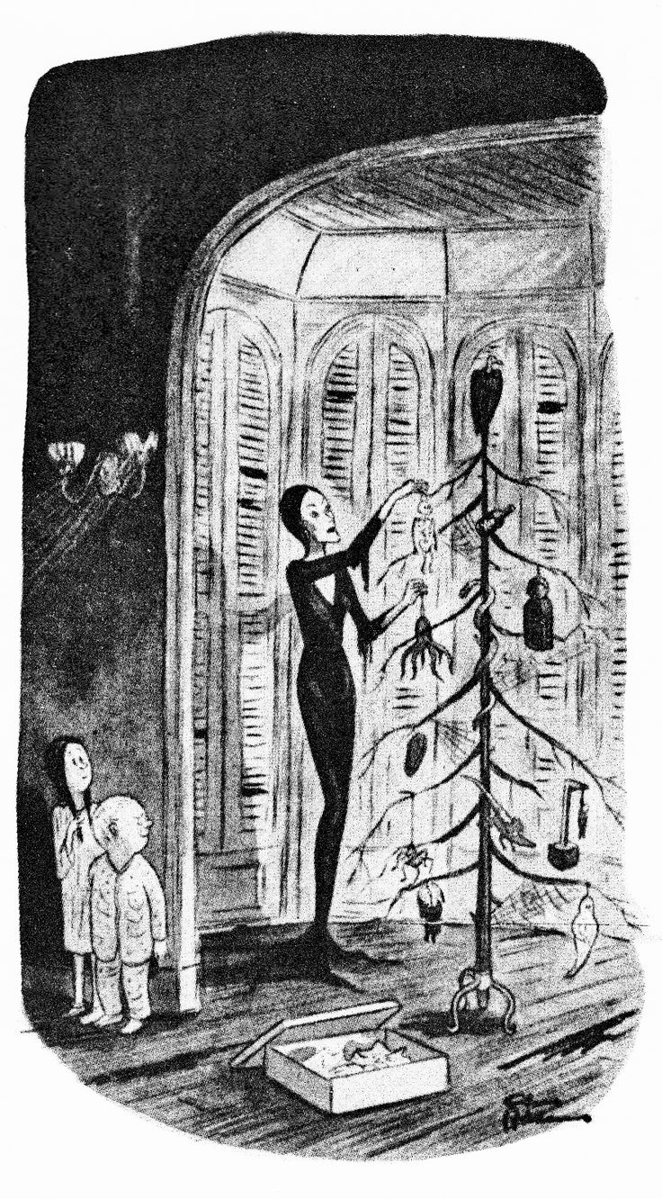 A Very Addams Creepmas: Day 5 - Morticia trims the Addams Family tree with delightfully dark baubles.