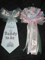 Baby shower Princess Mommy and Daddy Baby shower corsage and Tie It's A Girl