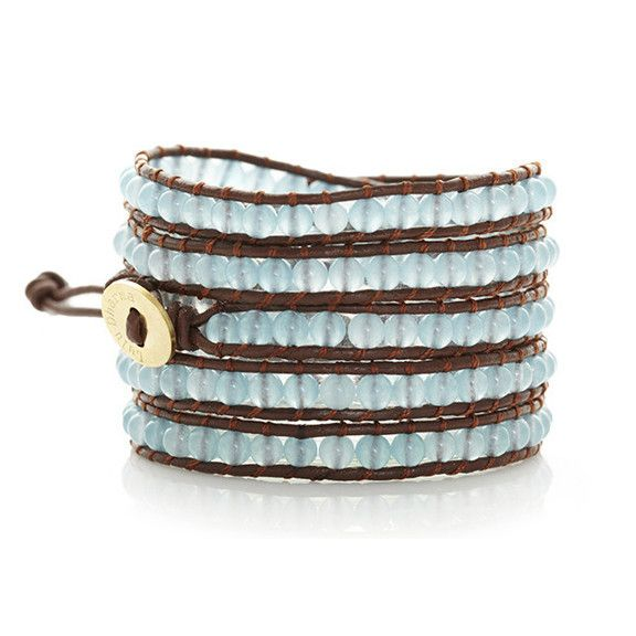 Aqua Chalcedony w/ Brown Leather and Round Gold Button